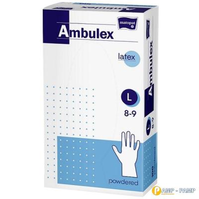 Перчатки смотровые латексные matopat Ambulex, нестерильные припудренные, размер L 100 шт 5900516892715