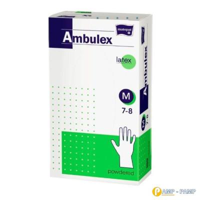 Перчатки смотровые латексные matopat Ambulex, нестерильные припудренные, размер M 100 шт 5900516892708
