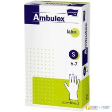 Перчатки смотровые латексные matopat Ambulex, нестерильные припудренные, размер S 100 шт 5900516892692