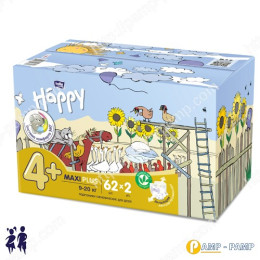 Подгузники детские Bella Baby Happy maxi plus 9-20 кг 2x62 шт 5900516017347