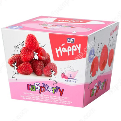 Платочки бумажные Bella Baby Happy двухслойные Малина 40 + 40 шт 5900516421519