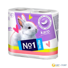 Туалетная бумага Bella№1 Karo, белый, двухслойная 4 рулона
