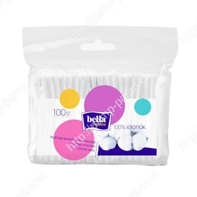 Ватные палочки Bella Cotton, в полиэтиленовой упаковке, 100 шт. 5900516400330