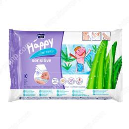 Детские влажные салфетки Bella Baby Happy, Sensetive - Aloe Vera 10 шт 5900516421069