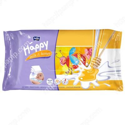 Детские влажные салфетки Bella Baby Happy Milk - Молоко и Мед, 64 шт 5900516421137