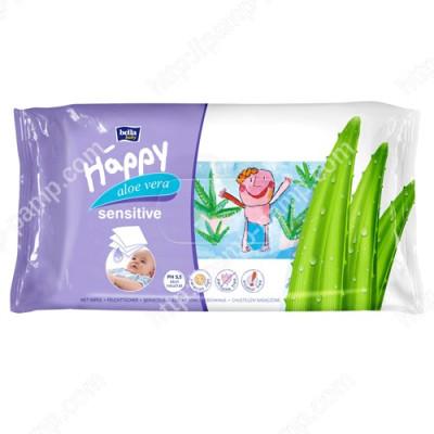 Детские влажные салфетки Bella Baby Happy Sensetive Aloe Vera обогащены экстрактом алоэ 56 шт 5900516421151